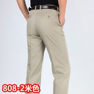 Men Casual Pants High Waist Cotton Leisure Trousers