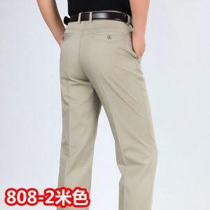 Men Casual Pants High Waist Cotton Leisure Trousers