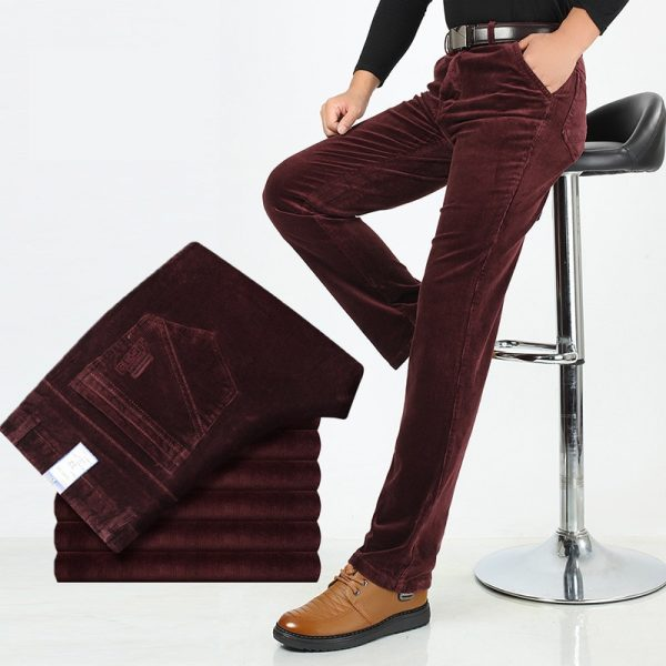 Men Stretch Corduroy Pants Business Casual Trousers
