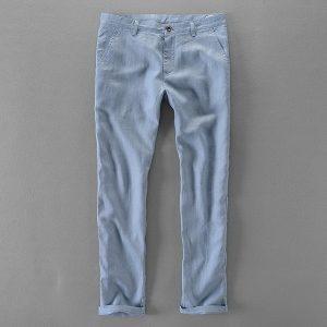 Linen Casual Pants Long Men Trousers