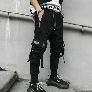 Spring Hip Hop Joggers Men Black Harem Pants