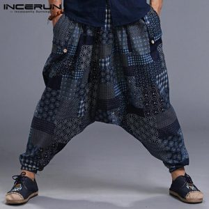 Men Print Vintage Harem Pants Baggy Trousers
