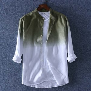 100% Linen Shirt Three Quarter Sleeve Shirts