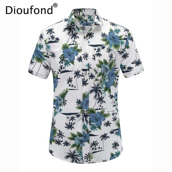 Men Casual Shirts Hawaiian Aloha Shirt Floral Shirts