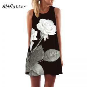 Women Dress Print Sleeveless Summer Dress