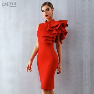 Celebrity Party Dress Sexy Sleeveless Ruffles Club Dresses