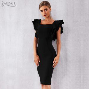 Celebrity Party Dress Sexy Ruffles Bodycon Club Dress