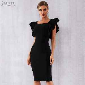 Celebrity Party Dress Sexy Ruffles Bodycon Club Dress