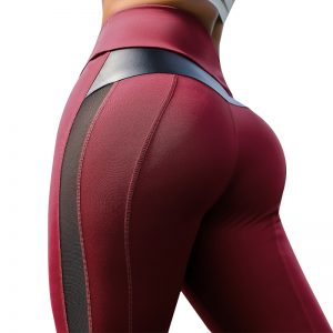 Fitness Legging PU Leather Patchwork Leggings