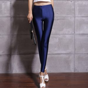 Fluorescent Shiny Leggings Elasticity Casual Trousers