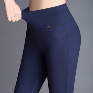 High Waist Stretch Leggings Slim Long Trousers