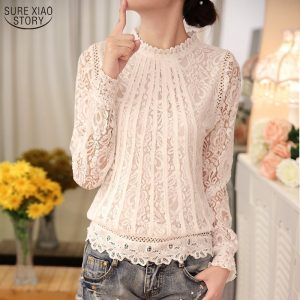 Ladies Blouses Chiffon Lace Crochet Tops