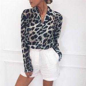Chiffon Blouses Leopard Print Blouse Office Shirt