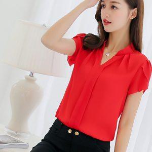 Summer Women Chiffon Blouse Ladies Office Shirts