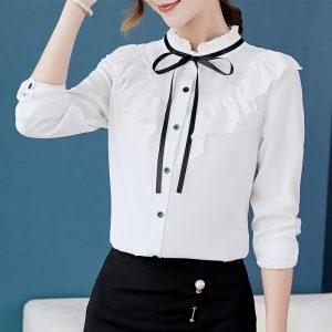 Women Long Sleeve Shirts Korean Chiffon Blouse
