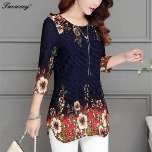 Floral Long Shirt Casual Elegant Printed Blouse
