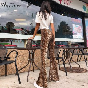 Leopard Print Flare Leggings Sexy Trousers