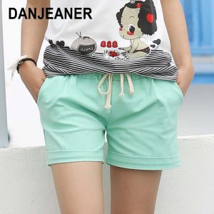 Summer Shorts Women Candy Elastic Belt Short