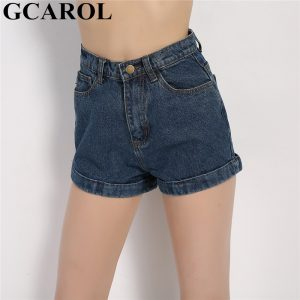 Women Denim Shorts Vintage Cuffed Jeans Shorts