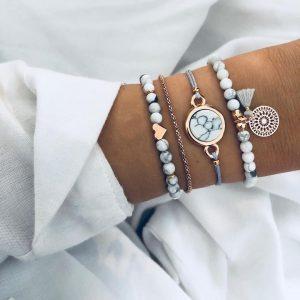 Crystal Marble Charm Bracelets Boho Tassel Bracelet