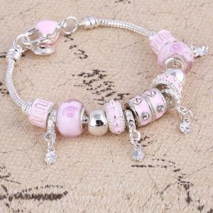 Crystal Charm Silver Bracelets Bangles Jewelry