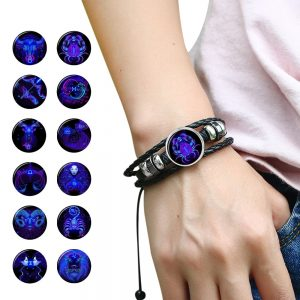 Zodiac Sign Braided Leather Bracelet