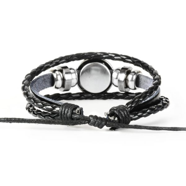Zodiac Sign Braided Leather Bracelet