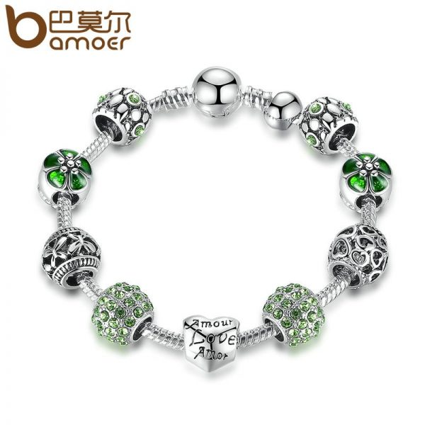 Silver Charm Bracelet Women Wedding Jewelry