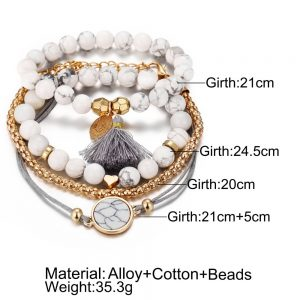 Bohemian Weave Heart Long Tassel Bracelet