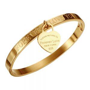 Lover Cuff Bracelets Bangles Heart Pendant