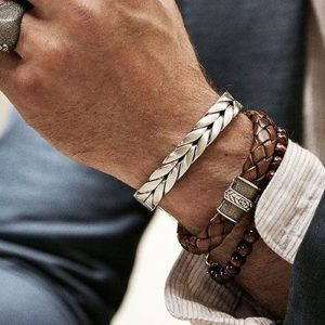 Men Bangles Bracelet Leather Fashion Bangle