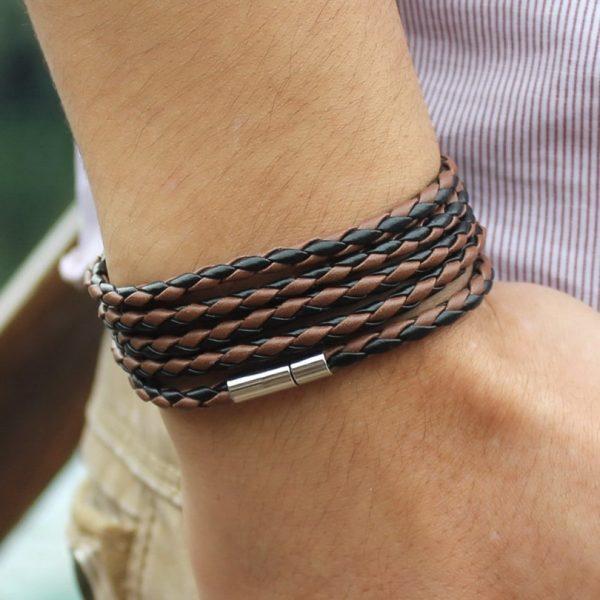 Wrap Long Leather Bracelet Men Bangles
