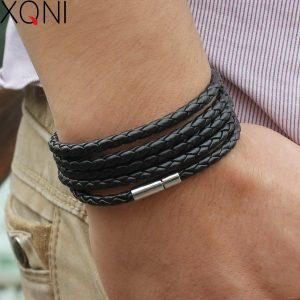 Wrap Long Leather Bracelet Men Bangles