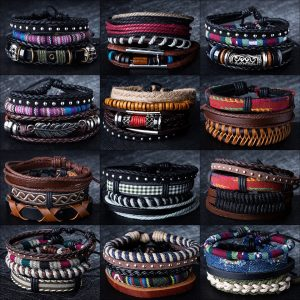 Metal Leather Bracelets Men Jewelry
