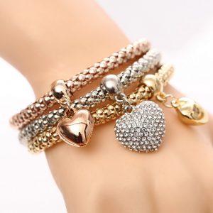 Heart Charm Bracelet Rhinestone Bracelets