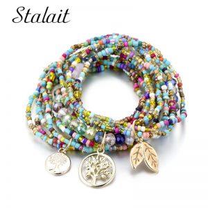 Bohemian Tree Leave Charm Beads Bracelets