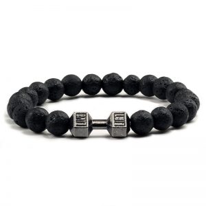 Lava Stone Dumbbell Bracelet Fitness Barbell Jewelry
