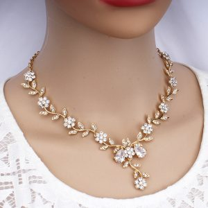 Classic Bridal Jewelry Cubic Necklace Earrings