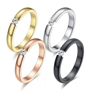 Fashion Engagement Ring Stainless Steel Rings