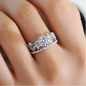 Luxury 925 Silver Ring Promise Engagement Rings