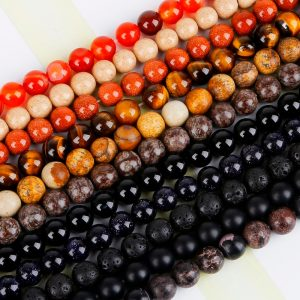 Natural Stone Beads Matte Lava Tiger Eye Bead