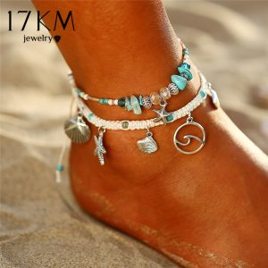 Bohemian Starfish Stone Anklets Ocean Jewelry