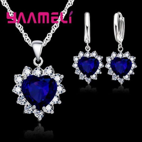 925 Sterling Silver Jewelry Set Heart CZ Stone