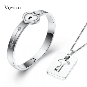 Couple Jewelry Sets Love Heart Lock Bracelets