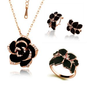 Fashion Rose Painting Bridal Jewelry Sets