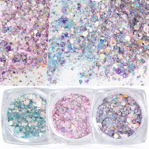 Nail Mermaid Glitter Flakes Sparkly 3D Hexagon