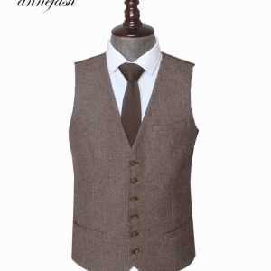 Woolen Herringbone Wedding Suit