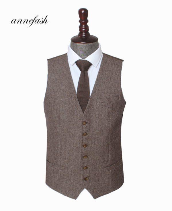 Woolen Herringbone Wedding Suit