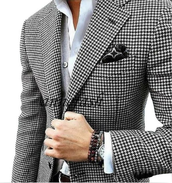 Woolen Houndstooth Blazer Casual Suit