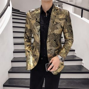 Luxury Gold Stripes Print Blazer